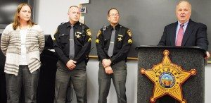 Left to Right Cpl. Korre Shumard,  Sgt. Aaron Woollard, Sgt. Bill Hogue and Sheriff Rodenberg