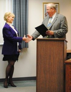 President of the Board of Clermont County Commissioners, Ed Humphrey, presented Ms. Cindy Gramke, the Executive Director of Clermont Senior Services, with a Proclamation declaring May as 'Older Americans Month' in Clermont County, Ohio.