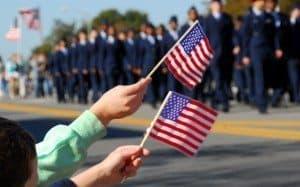 Flag waving at veteran's day parade